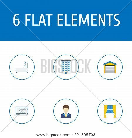 Icons flat style garage, bathtub, realtor and other vector elements. Set of immovable icons flat style symbols also includes floor, water, building objects.