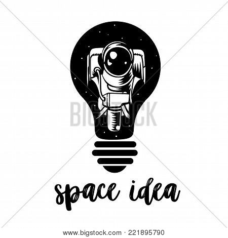 Vector Astronaut in a light bulb. Astronaut surreal graphics t-shirt design. Symbol of creative thinking, new ideas