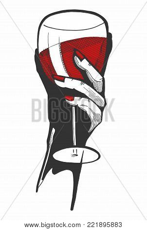 Vector illustration of a woman hand with a glass of red wine. Hand drawn style with a color underlay.
