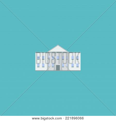Icon flat government building element. Vector illustration of icon flat white house isolated on clean background. Can be used as white, house and government symbols.