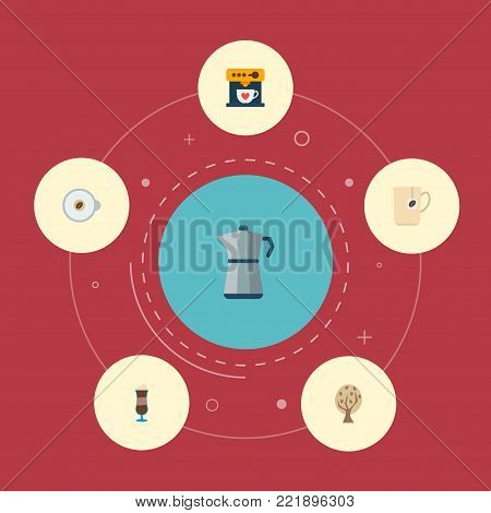 Icons flat style tree, latte, espresso dispenser and other vector elements. Set of beverage icons flat style symbols also includes coffee, espresso, capsule objects.