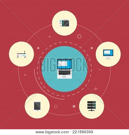 Icons flat style modem, monitor, game console and other vector elements. Set of computer icons flat style symbols also includes game, laptop, play objects.