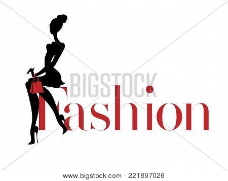 Black And White Fashion Woman Silhouette With Red Bag, Boutique Logo, Sale Banner, Shopping Advertis