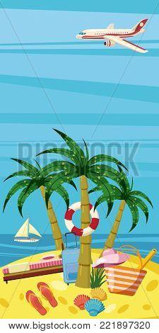Sea rest banner vertical concept. Cartoon illustration of sea rest banner vertical vector for web