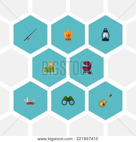 Set of encampment icons flat style symbols with clash knife, binoculars, bbq and other icons for your web mobile app logo design.