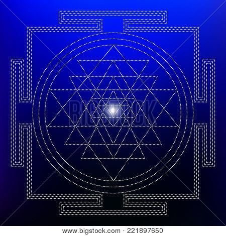 Sacred Indian Geometry Mystical Meditative Diagram Symbol - Vector Shri Yantra
