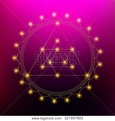 Sacred Indian Geometry Mystical Meditative Diagram Symbol - Vector Ganesh Yantra
