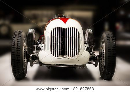 Ford V8 Monoposto Indianapolis Style of 1936 american vintage racing car  front view on cars exhibition in  Baku, Azerbaijan  -  april,12,2017