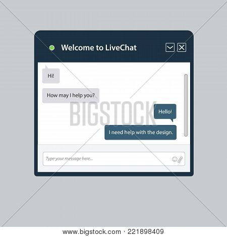 The universal live chat window for web. This is the template for web sites and electronic applications. This illustration is easy to edit in a graphic editor.