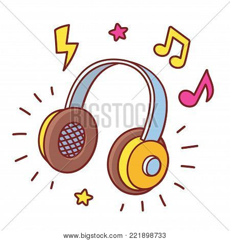 Bright cartoon headhpones drawing with cool comic style music notes and stars. Listening to music, vector illustration.