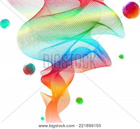 Abstract Transparent Wavy Veil Background -  Vector Billowy Lines Net with Bubbles