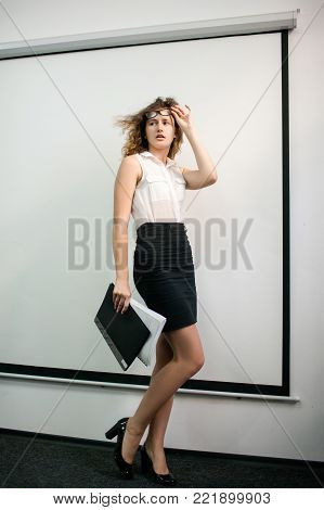 office pretty woman formal clothing fashion concept. style and beauty. successful workers. free space