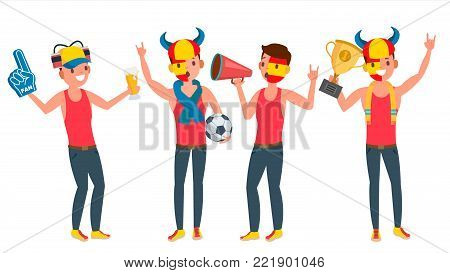 Team Supporter Man Vector. Young Man With Flags And Accessories Fans. Fan Rooter Buff. In Action. Isolated Flat Cartoon Character Illustration