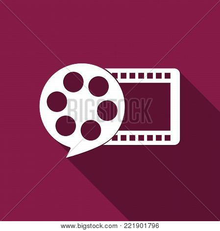Film reel and play video movie film icon isolated with long shadow. Flat design. Vector Illustration