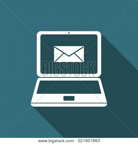 Laptop with envelope and open email on screen icon isolated with long shadow. Email marketing, internet advertising concepts. Flat design. Vector Illustration