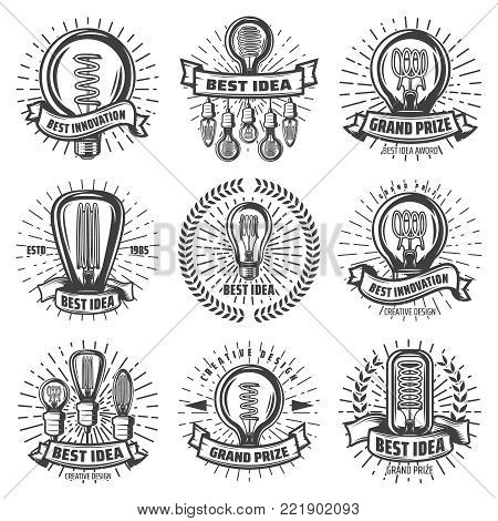 Vintage energy efficient lightbulbs labels set with inscriptions different light bulbs laurel wreath sunbursts isolated vector illustration