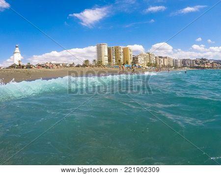 View of Malagueta beach in Malaga. Andalusia, Spain
