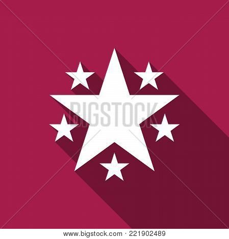 Star icon isolated with long shadow. Favorite, Best Rating, Award symbol. Flat design. Vector Illustration