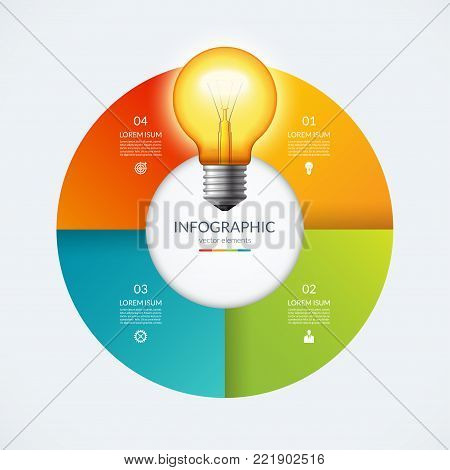Infographic circle with glowing lightbulb. Creative idea concept with 4 options, steps, parts. Can be used for circular chart, cycle diagram, graph, workflow layout, web design. Vector illustration