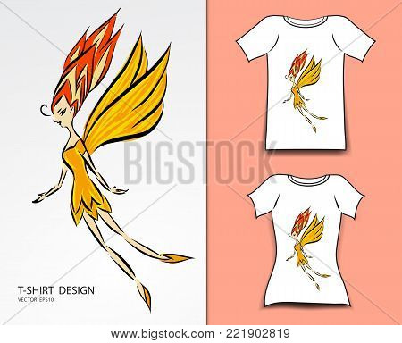 T-shirt design vector illustration, Cute little fairy cartoon, angel, Comics in fairy tales, fabric texture, fashion wear, clothing, Fantasy Character, butterfly