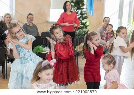 Kiev, Ukraine, December 12, 2017 Children perform in kindergarten