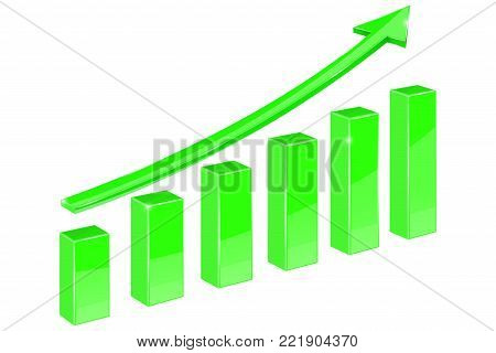 Green indication arrow. Up rising financial graph. 3d vector illustration isolated on white background