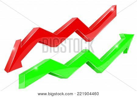 Red and green financial graph. Vector 3d illustration isolated on white background