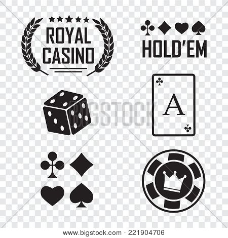 Casino vector sign set. Slot machine symbols. Lucky seven