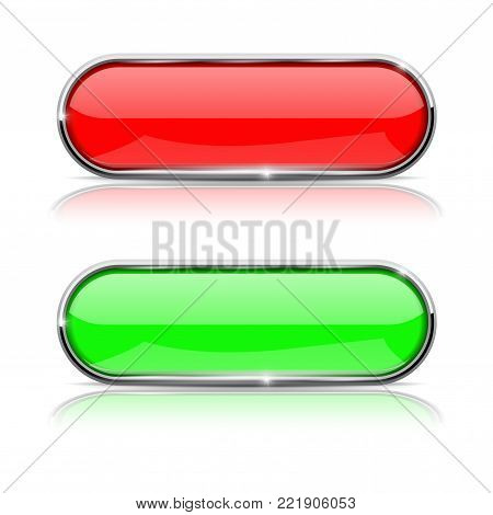 Red and green buttons with chrome frame. 3d shiny icons. Vector illustration isolated on white background