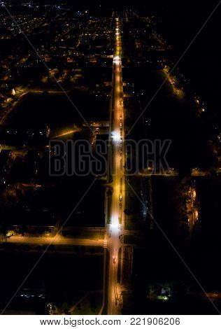 Aerial view of the city at night