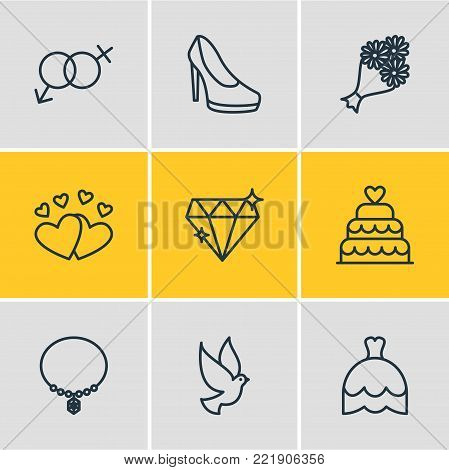 Vector illustration of 9 wedding icons line style. Editable set of diamond, posy, bride dress and other elements.