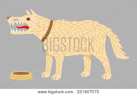 Angry evil dog in a brown collar and a dog bowl. Vector illustration on grey background