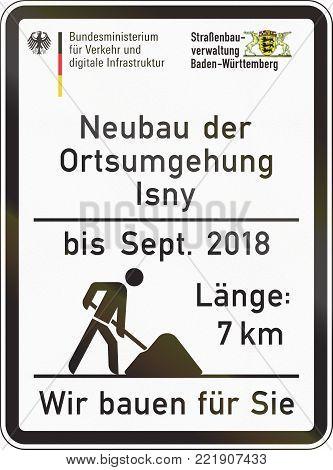 German Construction Site Information Sign - Renovation Of Surface Until Septemter 2018 - Length 8 Km