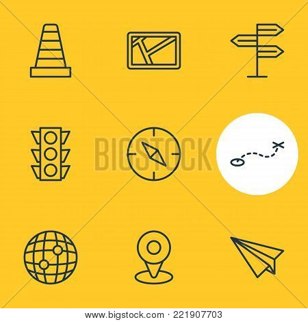 Vector illustration of 9 direction icons line style. Editable set of caution, path, stoplight and other elements.