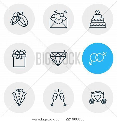 Vector illustration of 9 engagement icons line style. Editable set of card, bridegroom dress, engagement and other elements.