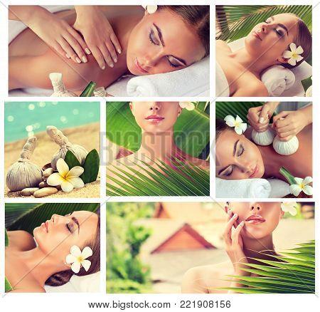 Body care collage  . Spa body massage treatment. Woman having massage in the spa salon