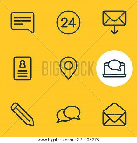 illustration of 9 connect icons line style. Editable set of pencil, correspondence, resume and other elements.