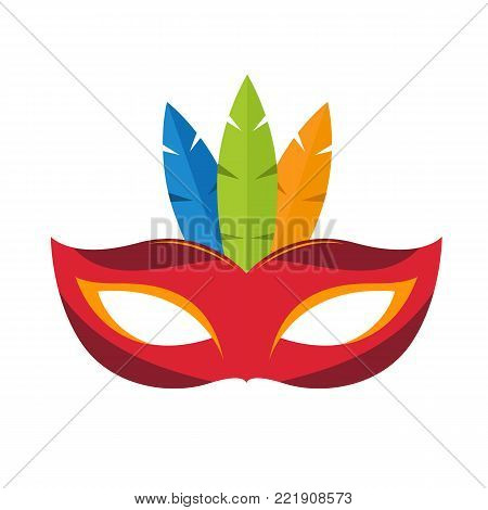 Mask isolated on white background. Carnival colorful mask. Vector stock.