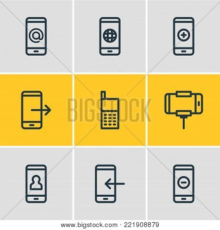 illustration of 9 smartphone icons line style. Editable set of inbox, minus, worldwide and other elements.