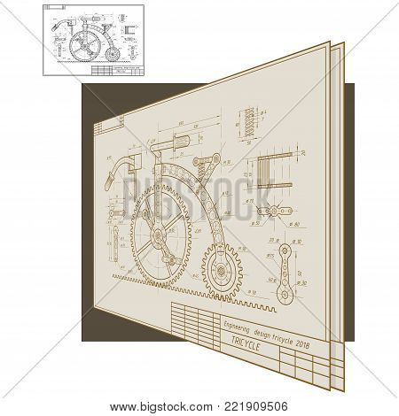 an illustration consisting of an image of a tricycle in the form of a drawing and an inscription