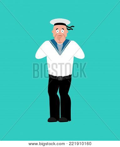 Sailor scared OMG. Russian soldier seafarer Oh my God emotion. Frightened Seaman Military in Russia. Illustration for 23 February. Defender of Fatherland Day. Army holiday for Russian Federation