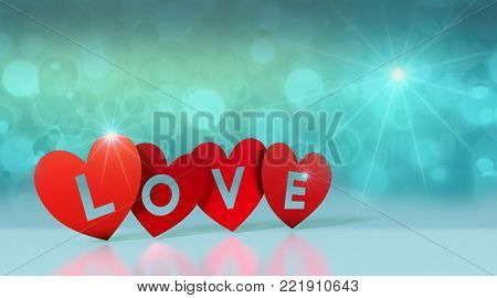 red paper hearts with text; love, on reflective floor and shiny background, valentines card (3d render)