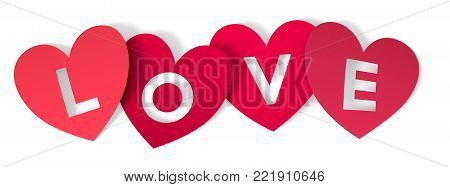red paper hearts with text: love, on white background (3d render)