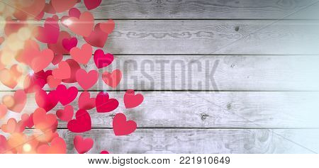 red paper hearts on wooden background, valentines card (3d render)