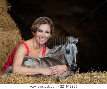 Young woman in red top with dun foal lying on hay. American Miniature Horse.