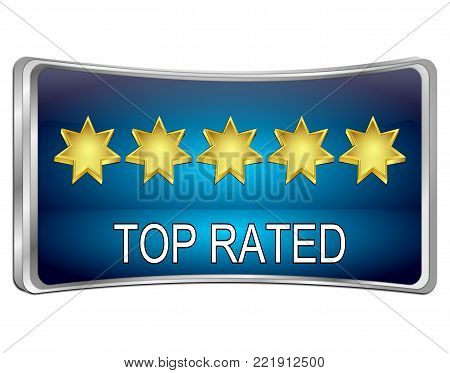 blue Top Rated Button - 3D illustration
