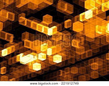Golden technology background - abstract computer-generated image. Design of glowing chaos cubes for banners, covers, posters. Hi-tech or sci-fi concept.
