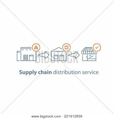 Supply chain concept, warehouse service, storage solution, goods distribution, shopping delivery, global shipping, parcel pick up point, collecting boxes, vector line icon set, linear illustration