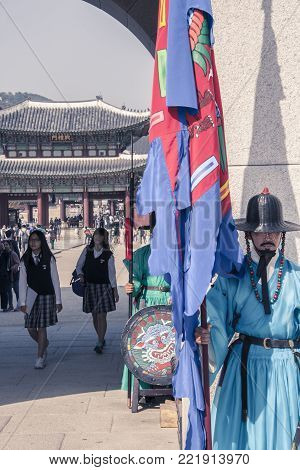 Seoul, South Korea, October 2012: Ceremony of Gate Guard Change at the main gate Gwanghwamun in the the Gyeongbokgung Palace in Seoul city, South Korea