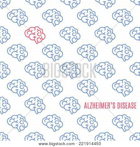 Alzheimer's disease poster. Medical pattern of healthy brains and one affected by the illness. Side view anatomy sign. Chronic neurodegenerative disorder symbol. Internal organ vector illustration.